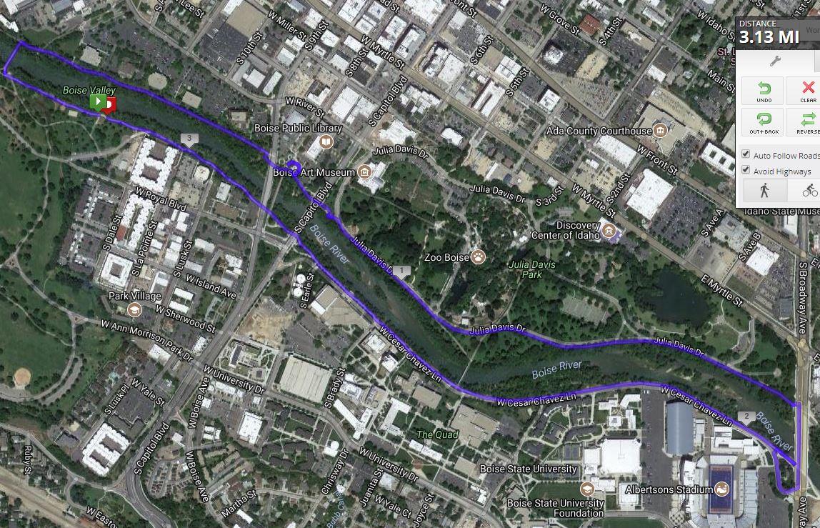 Boise 5K Run Map